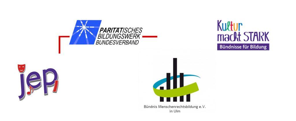 Logos von PBB, Bündnis Menschenrechte Ulm e.V., Kunst macht stark und JEP