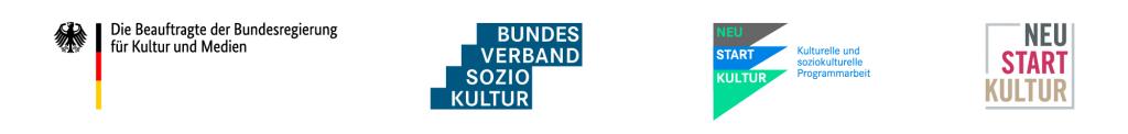 Medienschmiede-Fördererlogos- Beauftragte der Bundesregierung Kultur und Medien, Bundesverband sozio kultur, Neu-Start-Kultur Kullturelle und soziokulturelle Programmarbeit, Neu start kultur